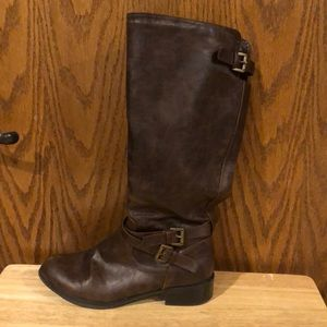 Soda brown knee high zip up boot